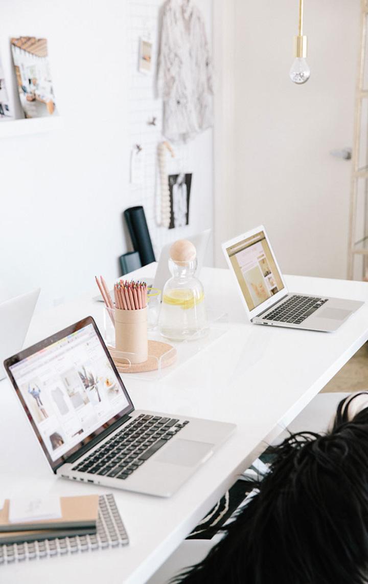 Decoração de escritório, mesa de trabalho