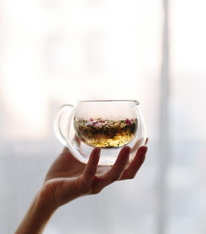 Chá da tarde Xícara de chá de vidro
