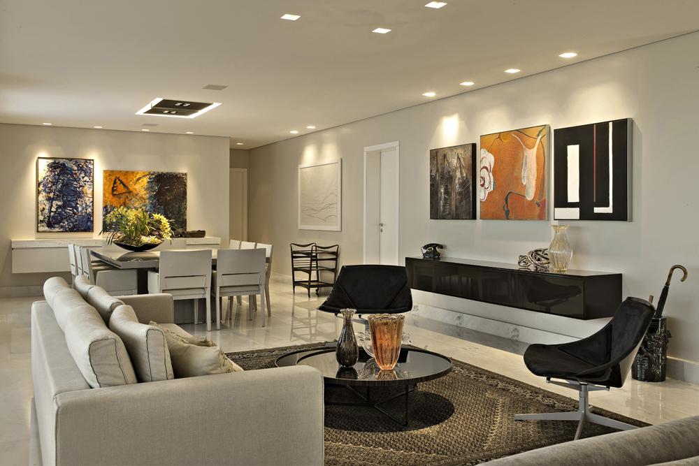 Decoração de: Sala de estar - sofá bege; Casa de Valentina