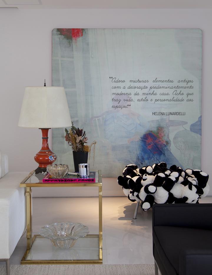Sala de estar; poltrona de ursos de pelúcia; Casa de Valentina