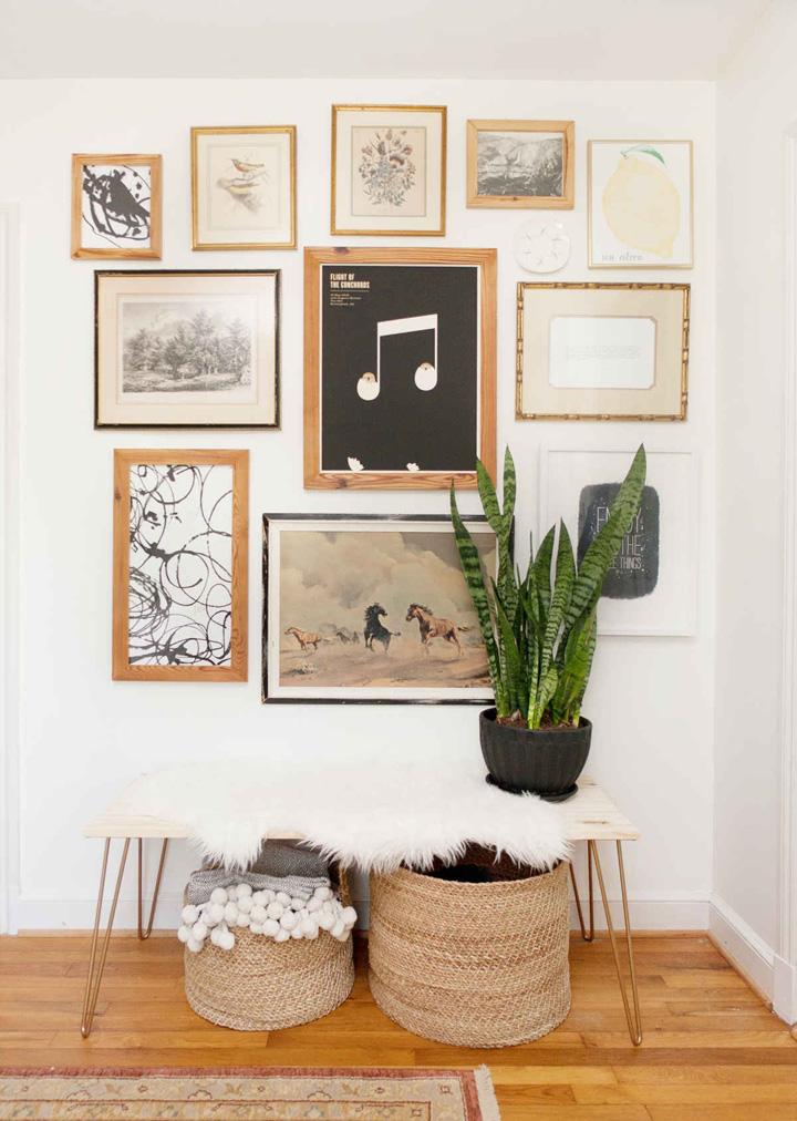 Decoração de: Detalhes; parede; composição de quadros; Casa de Valentina