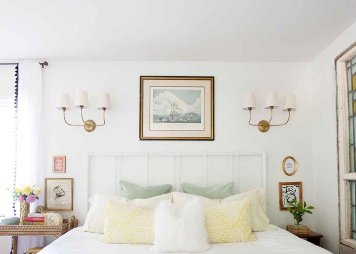Decoração de: Quarto de casal; almofadas amarelas; Casa de Valentina