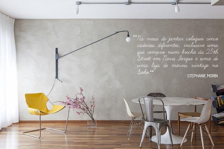 Decoração de: Sala de jantar;  poltrona amarela; Casa de Valentina