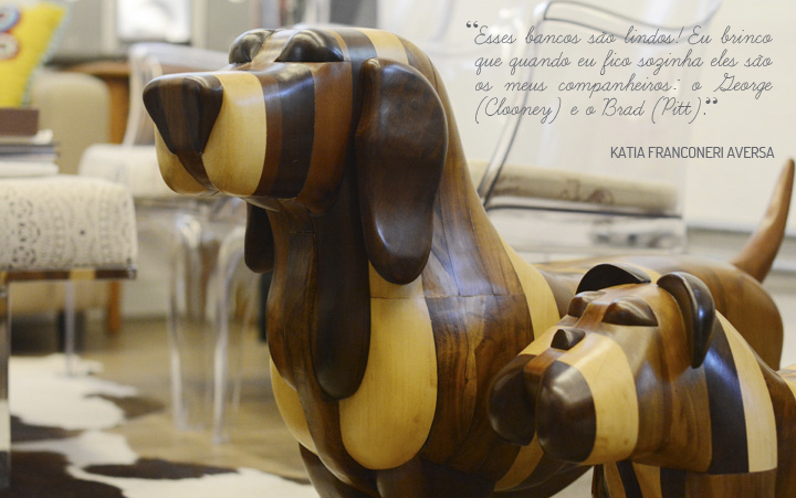 Decoração de: Detalhes; bancos de cachorros de madeira; Casa de Valentina