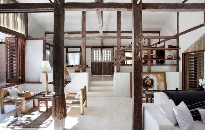 Decoração de: Sala de estar; estrutura de madeira; Casa de Valentina