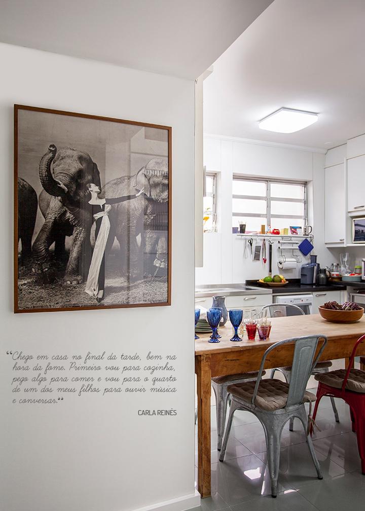 Decoração de: Detalhes; mesa de refeição de madeira de demolição; Casa de Valentina