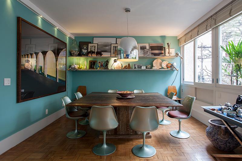 Decoração de: Detalhes; parede azul Tiffany; Casa de Valentina
