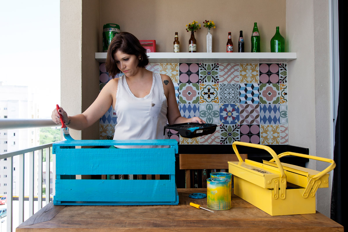 Decoração de: adesivo de azulejo; Casa de Valentina