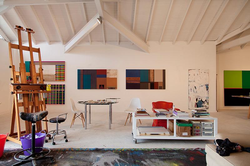 Decoração de: Home office; quadros abstratos geométricos; Casa de Valentina