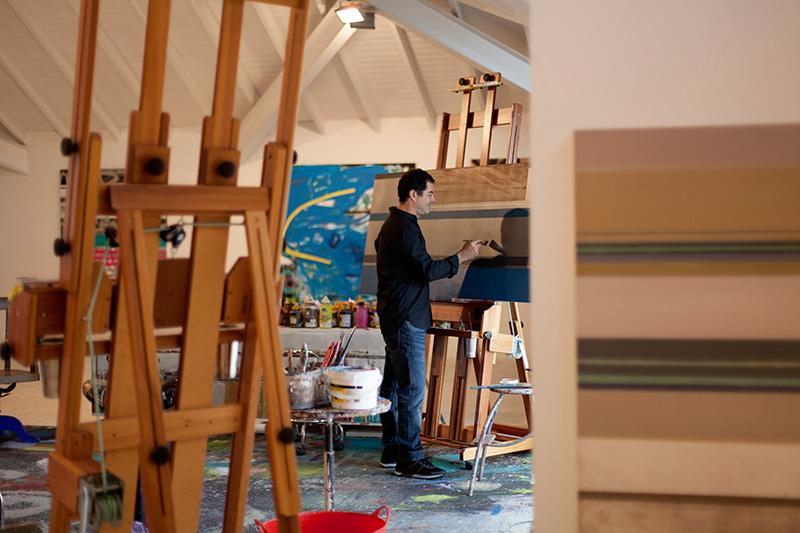 Decoração de: Detalhes; cavalete de pintura; Casa de Valentina