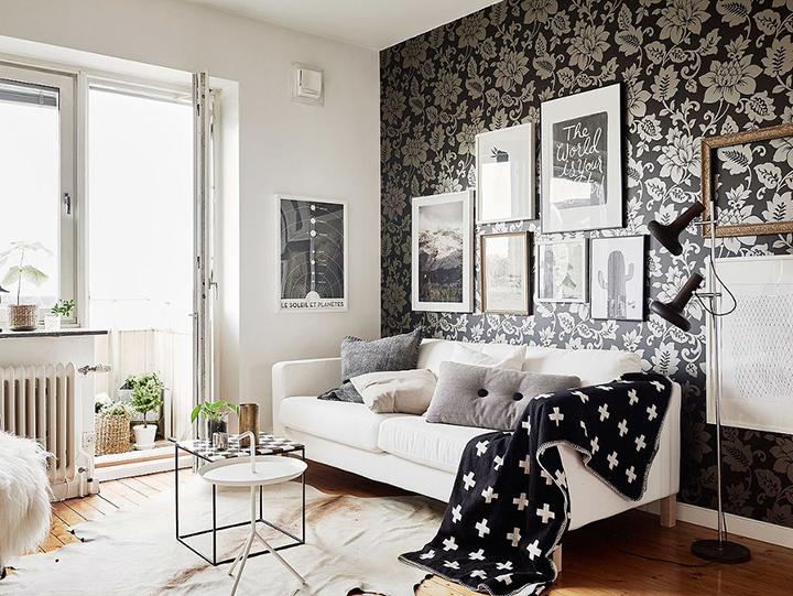 Decoração de: Sala de estar; papel de parede cinza; Casa de Valentina