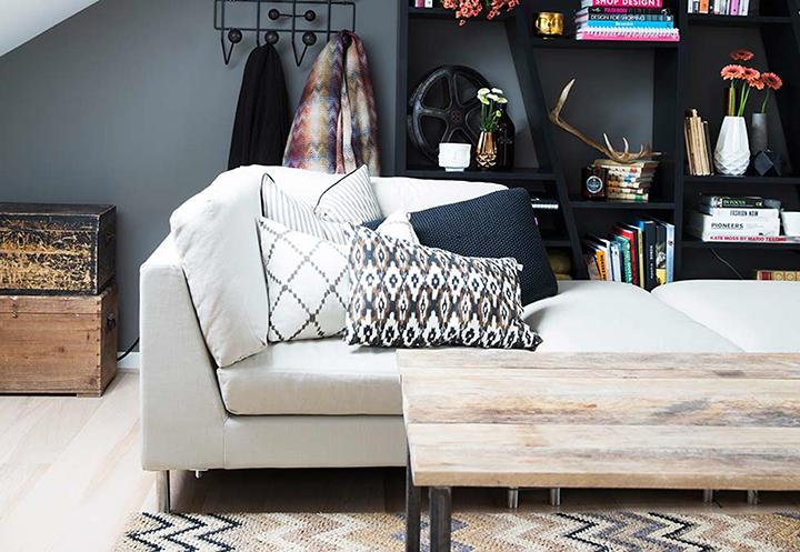 Decoração de: Detalhes; almofadas estampadas; Casa de Valentina