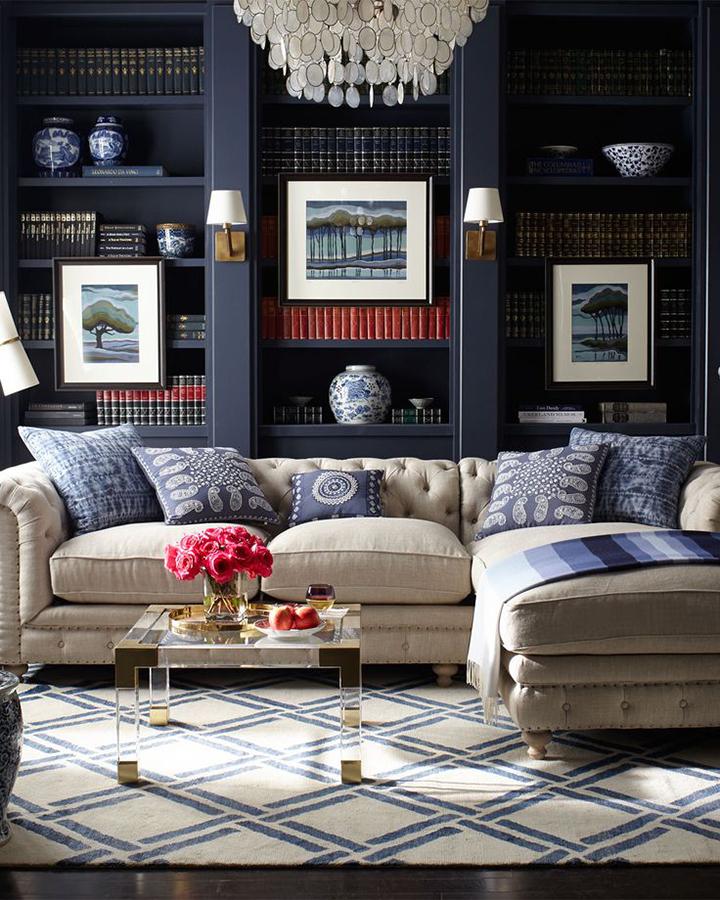 Decoração de: Sala de estar; parede azul; Casa de Valentina