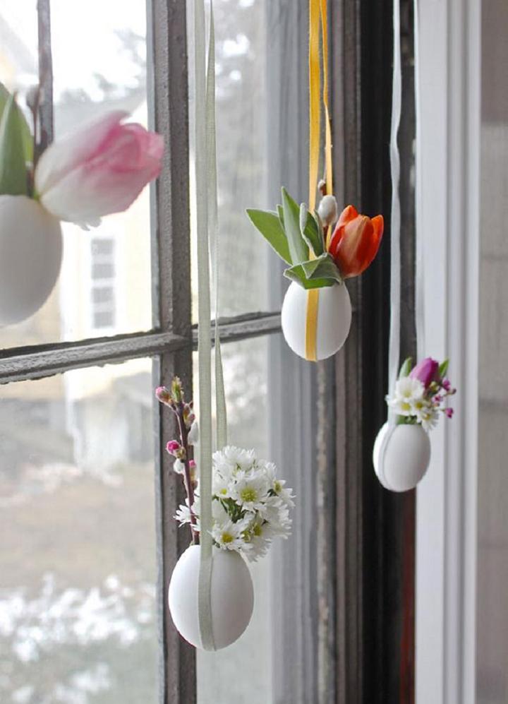 Decoração de: enfeite de páscoa para a janela;  Casa de Valentina