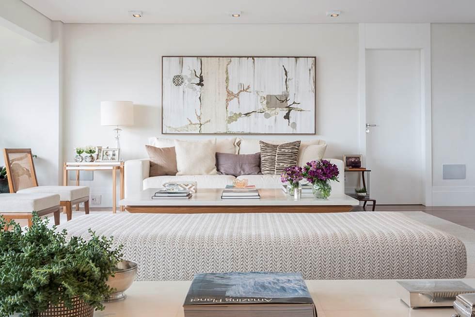 Decoração de: Sala de estar; quadro abstrato neutro; Casa de Valentina