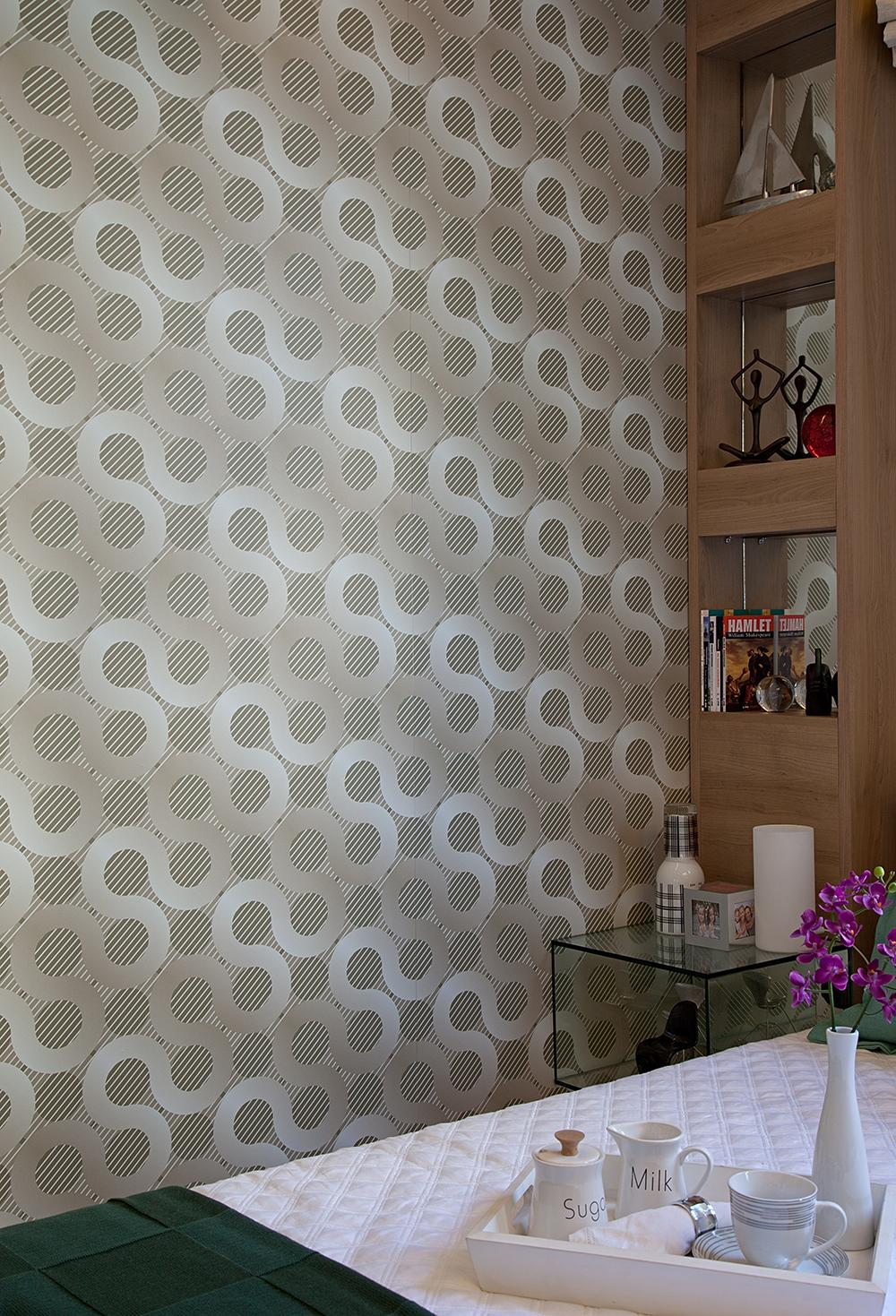 Decoração de: Detalhes; papel de parede geométrico; Casa de Valentina
