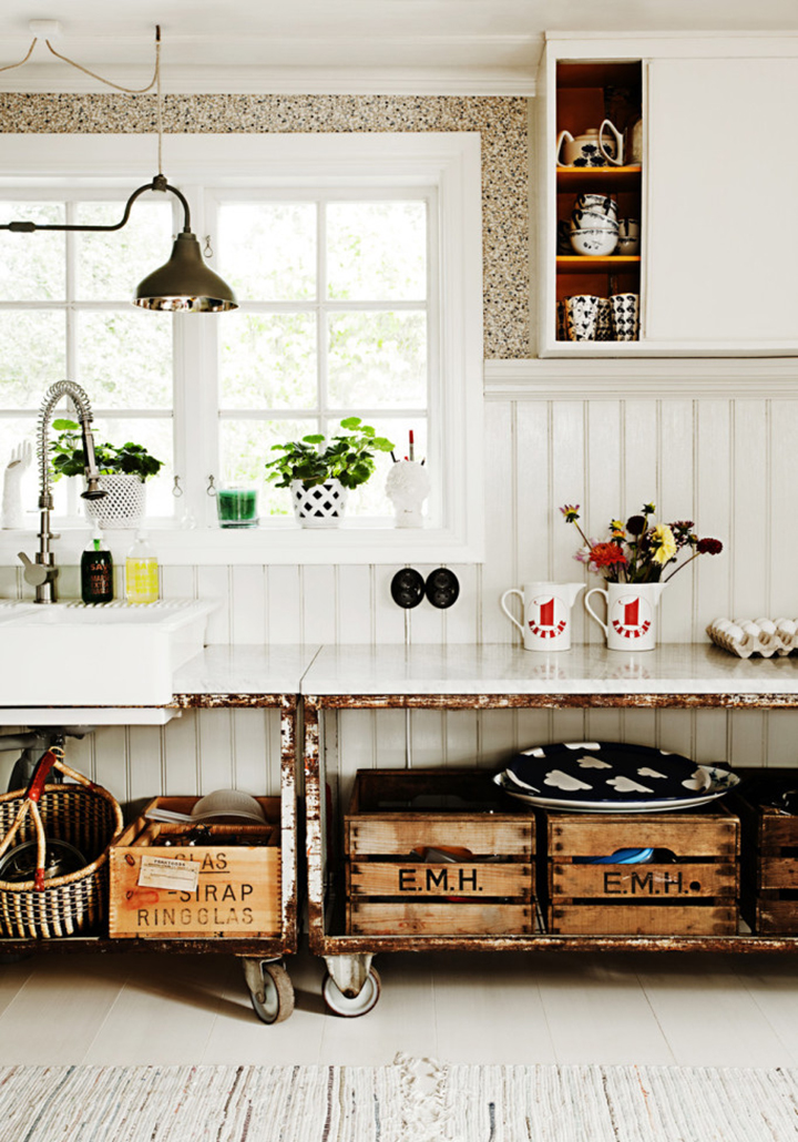 Decoração de: Cozinha; bancada vintage;  Casa de Valentina