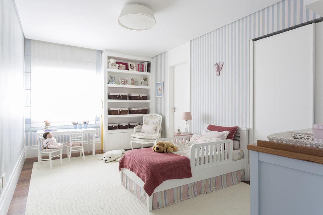 Decoração de: Quarto de criança; papel de parede listrado azul e branco; Casa de Valentina