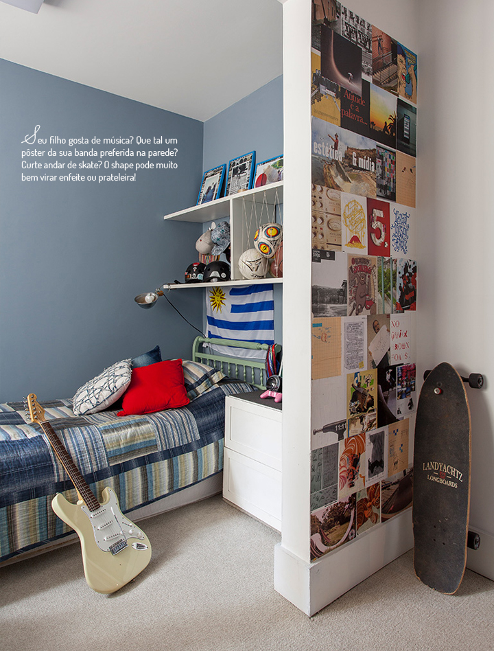 Decoração de: Quarto de solteiro; parede azul; Casa de Valentina