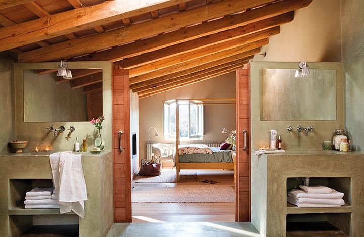 Decoração de: Banheiro; acabamento rustico; Casa de Valentina