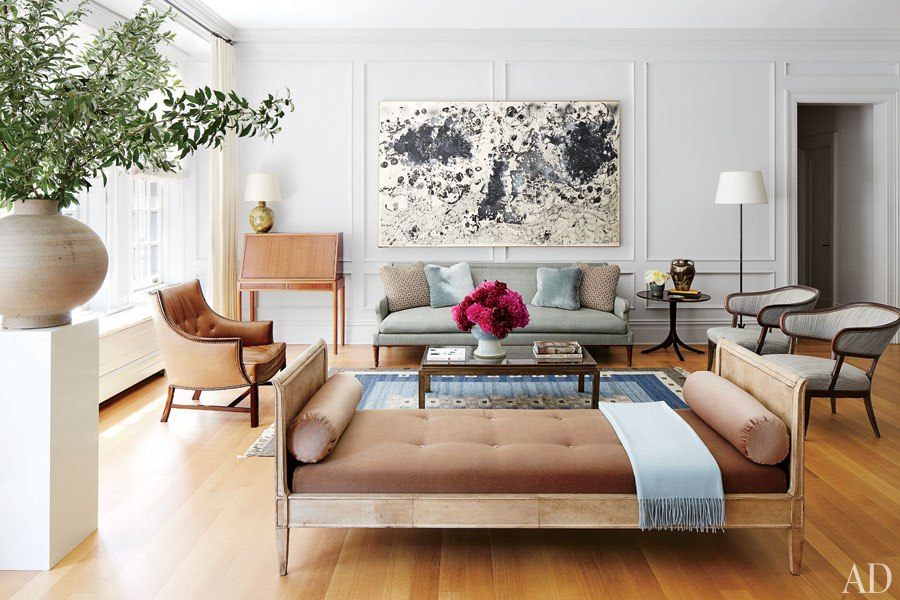 Decoração de: Sala de estar; sofá azul claro; Casa de Valentina