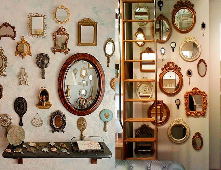 Decoração de: Detalhes; coleção de espelhos antigos; Casa de Valentina
