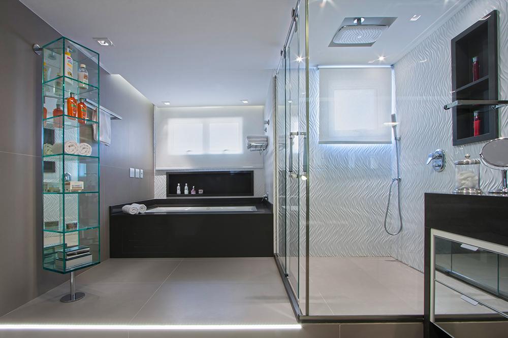 Decoração de: Banheiro; estante espelhada; Casa de Valentina