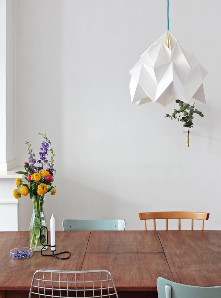 Decoração de: Detalhes; luminária de origami; Casa de Valentina