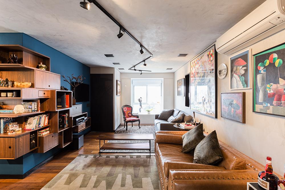 Decoração de: Sala de estar; banco de madeira; Casa de Valentina