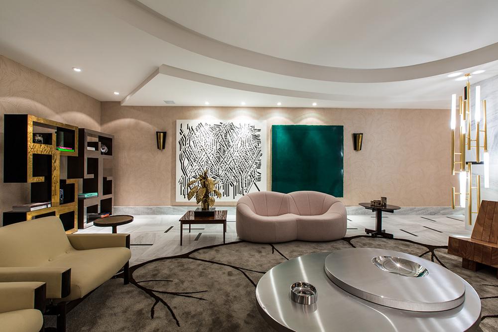 Decoração de: Sala de estar; parede rosa clara; Casa de Valentina