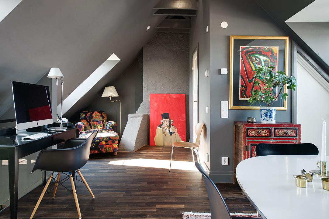 Decoração de: Home office/ quadro macaco vermelho; Casa de Valentina