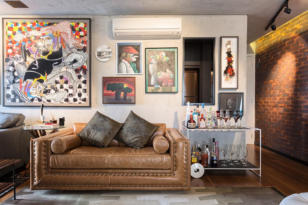 Decoração de: Sala de estar; parede galeria; Casa de Valentina